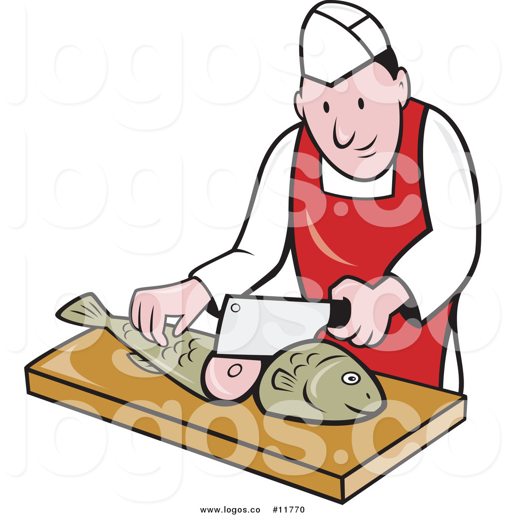 Chef chopping clipart clipart library Royalty Free Vector of a Logo of a Retro Pleasant Fishmonger Sushi ... clipart library