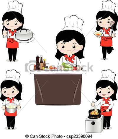 Chef clipart girl black and white library Girl chef Clipart Vector Graphics. 1,903 Girl chef EPS clip art ... black and white library