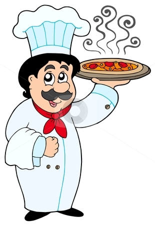 Chef clipart no watermark picture transparent library Cartoon chef holding pizza stock vector picture transparent library