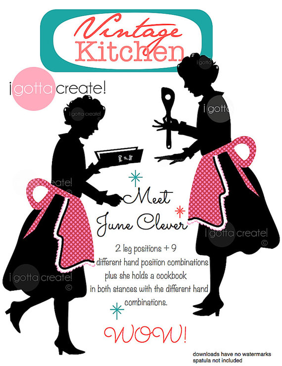 Chef clipart no watermark clip Chef in Apron Vintage Kitchen Clipart Silhouette: by iGottaCreate clip