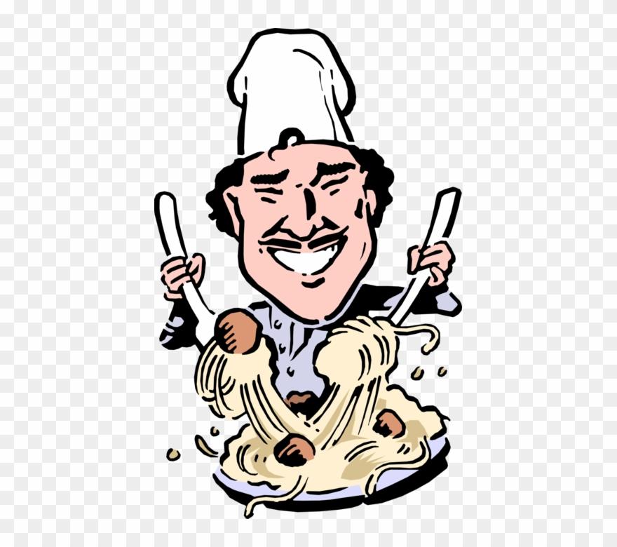 Chef illustration clipart svg Vector Illustration Of Italian Chef Tosses Pasta Spaghetti - Cartoon ... svg