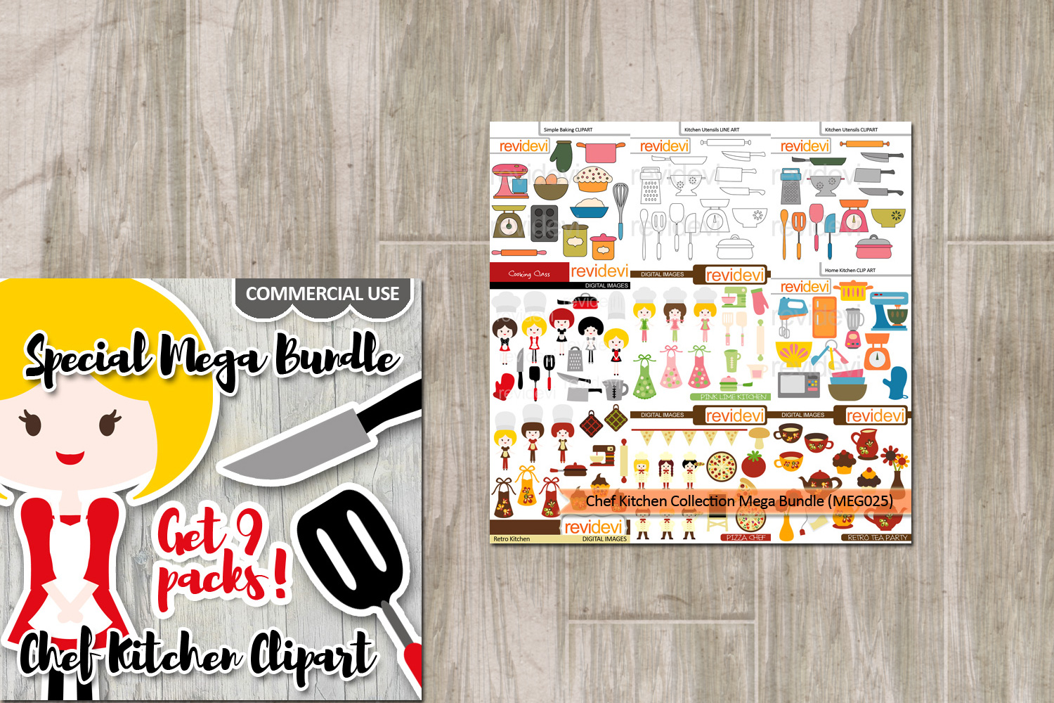 Chef kitchen clipart jpg freeuse Chef Kitchen Utensils Clip art graphics Big Bundle jpg freeuse