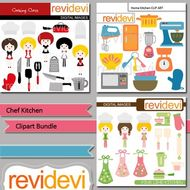 Chef kitchen clipart picture transparent Chef kitchen clip art bundle (3 packs) cooking baking clipart picture transparent