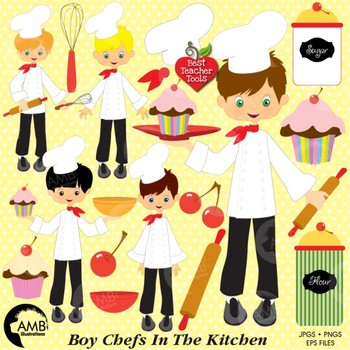 Chef kitchen clipart free download Chef Clipart, Kitchen Clipart, Boys Baking Clipart, Cooking Images, AMB-254 free download