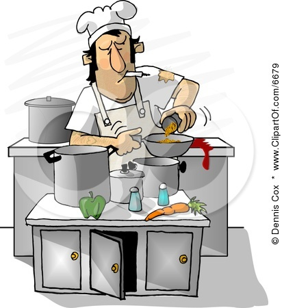 Chef kitchen clipart svg royalty free download 6679-Dirty-Chef-Smoking-While-Cooking-In-A-Kitchen-Clipart ... svg royalty free download