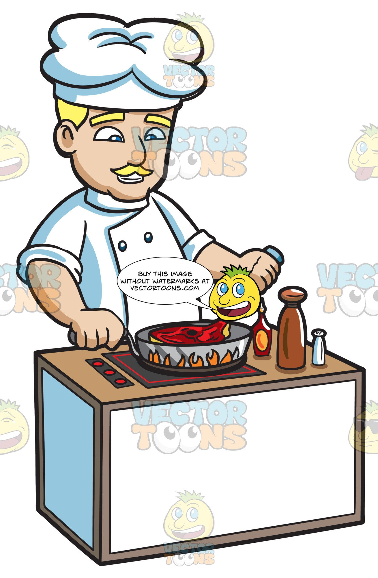 Chef kitchen clipart clipart transparent A Chef Cooking A Steak clipart transparent