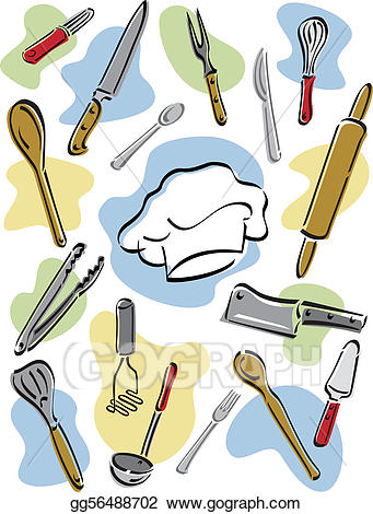 Chef utensils clipart banner free library Vector Art - Chef\'s tools. Clipart Drawing gg56488702 - GoGraph banner free library
