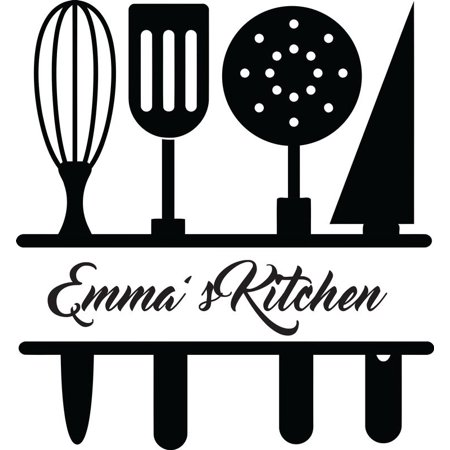 Chef utensils clipart picture black and white library Personalized Name Vinyl Decal Sticker Custom Initial Wall Personalization  Home Decor Kitchen Chef Utensils Cooking Serving Spoons Gadget Set 12  Inches ... picture black and white library