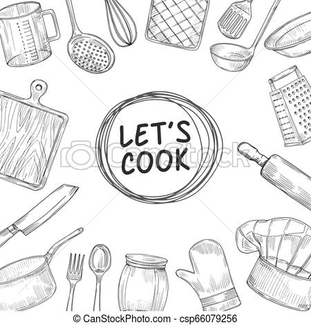 Chef utensils clipart clip freeuse library Lets cook. Cooking chef class sketch background. Culinary kitchen utensils  vintage vector illustration clip freeuse library