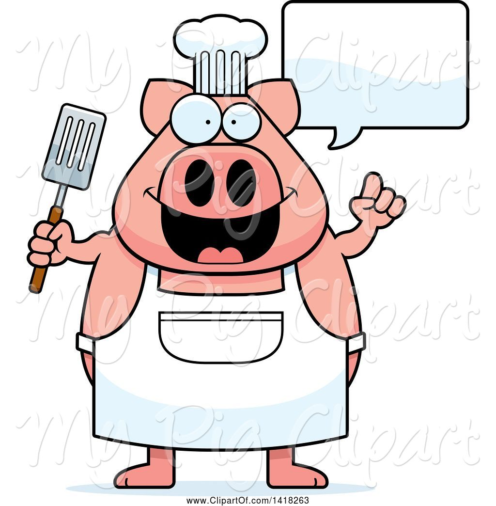 Chefs talking clipart jpg library stock Swine Clipart of Cartoon Chef Pig Talking and Holding a Spatula by ... jpg library stock