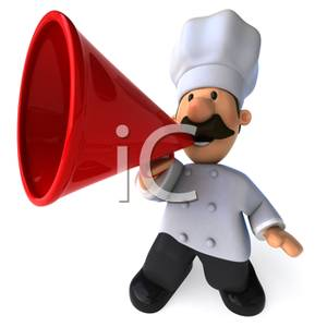 Chefs talking clipart banner library 3D Cook Talking Into a Red Megaphone Clipart Image banner library