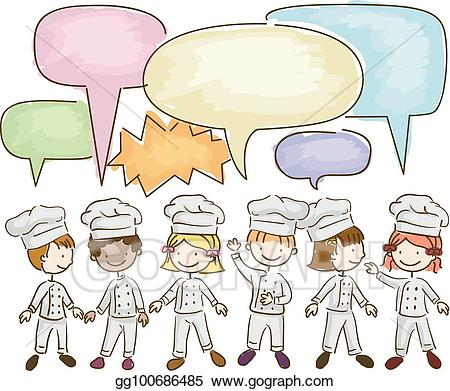 Chefs talking clipart svg Vector Clipart - Stickman kids little chefs talking illustration ... svg
