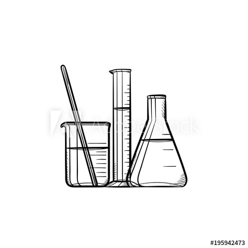 Chemistry beaker and test tube sillouette clipart clipart black and white stock Laboratory equipment hand drawn outline doodle icon. Chemistry test ... clipart black and white stock