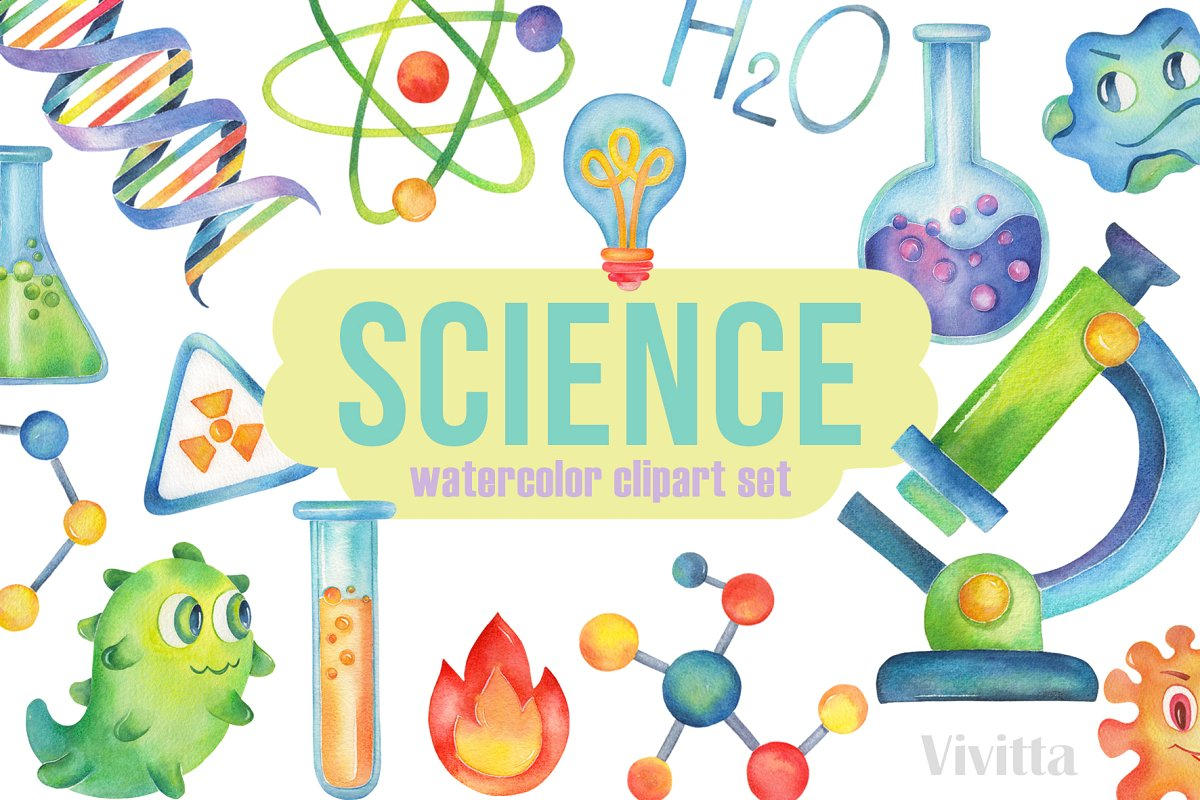 Watercolor beaker clipart clip free library Science watercolor clipart,Chemistry ~ Illustrations ~ Creative Market clip free library