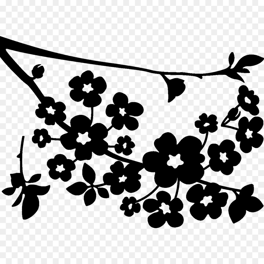 Cherry blossom clipart black and white graphic transparent download Black And White Flower png download - 1200*1200 - Free Transparent ... graphic transparent download