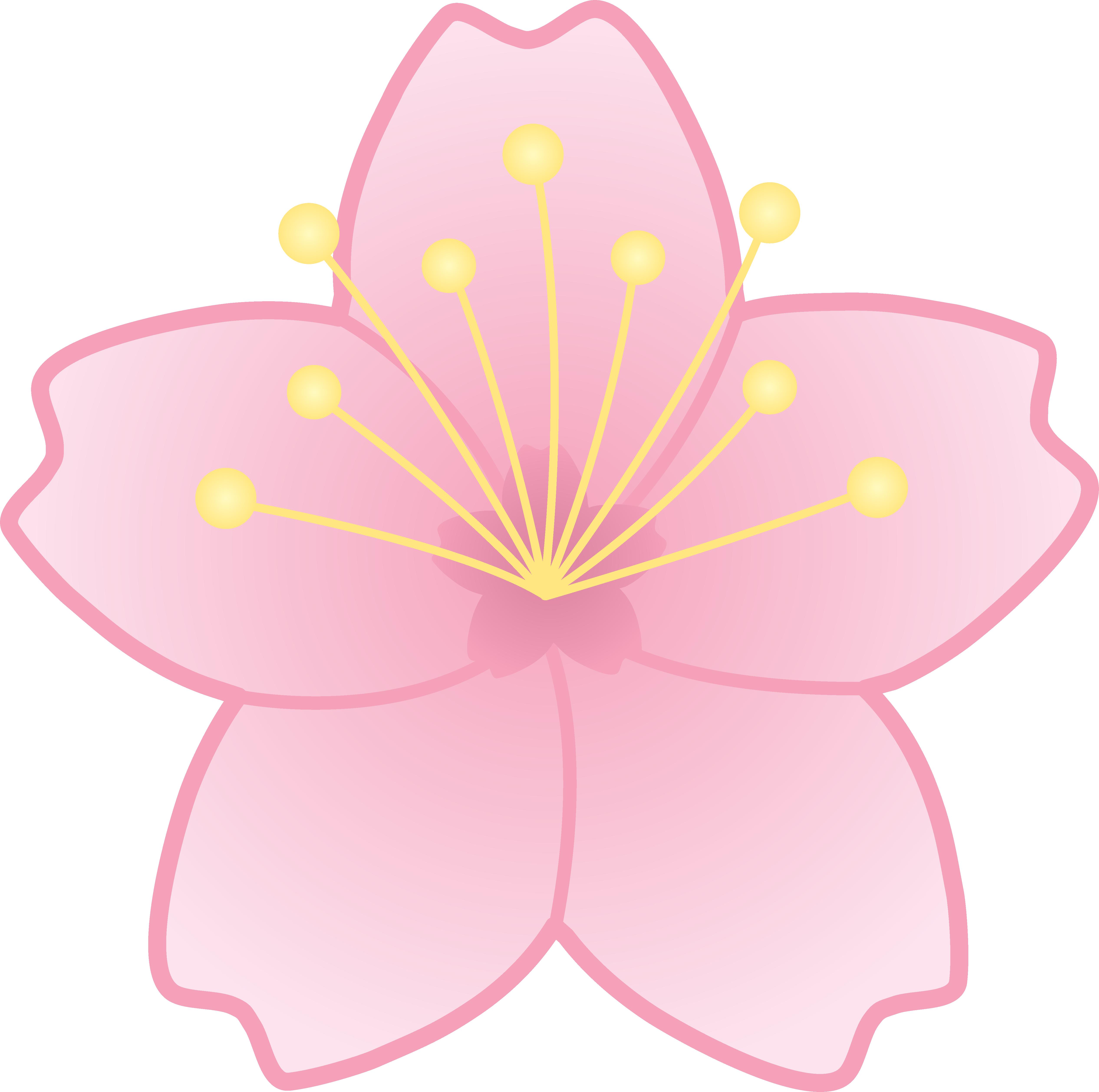 Sakura flower clipart picture royalty free Pink Cherry Blossom Flower - Free Clip Art picture royalty free