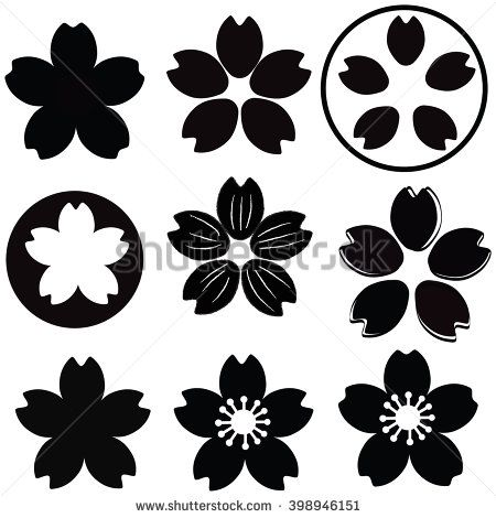 Cherry blossom silhouette clipart clip art transparent download Cherry Blossom flower silhouette set vector with many style include ... clip art transparent download