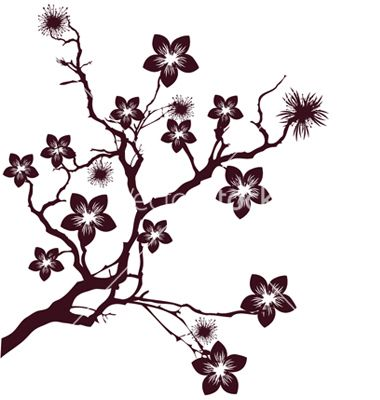 Cherry blossom silhouette clipart image black and white library Cherry blossom vector 177019 - by lindwa on VectorStock®   Art ... image black and white library