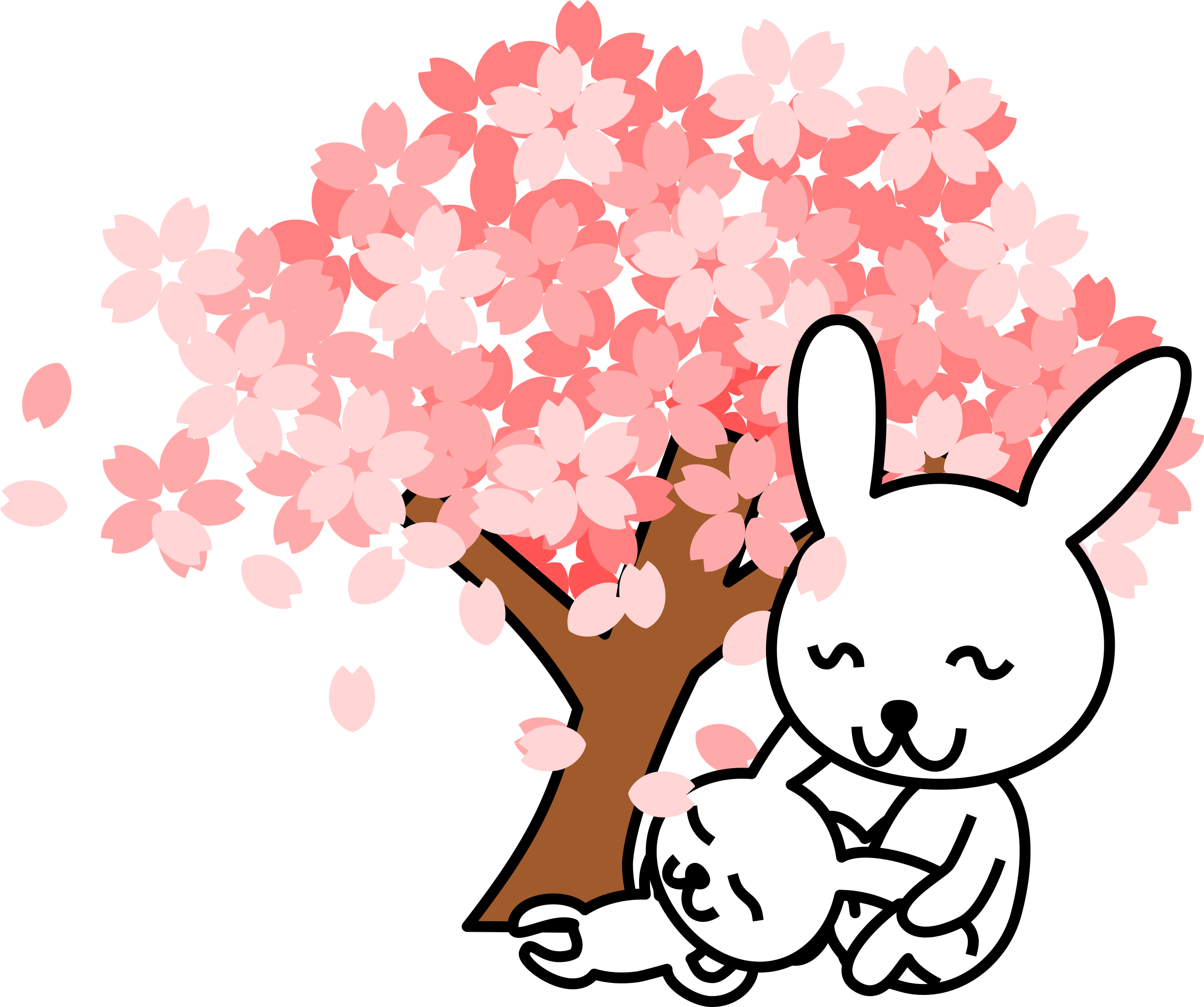 Clipart - cherry blossoms rabbit banner royalty free library