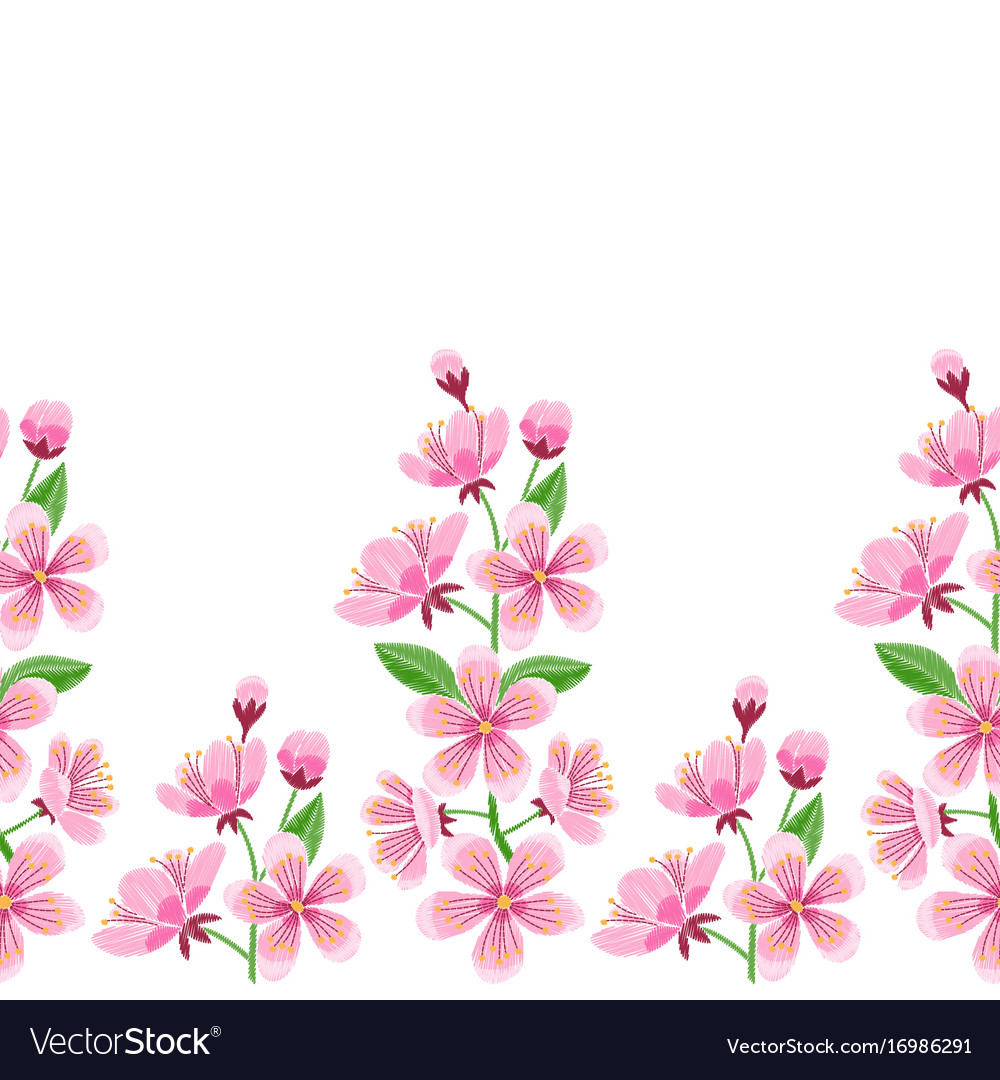 Cherry blossoms clipart vborder clip art freeuse Cherry blossom embroidery seamless border clip art freeuse