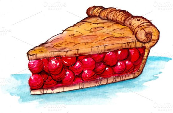 Cherry pie slice clipart graphic free Check out Cherry Pie by DearthCo on Creative Market | Digital Art ... graphic free