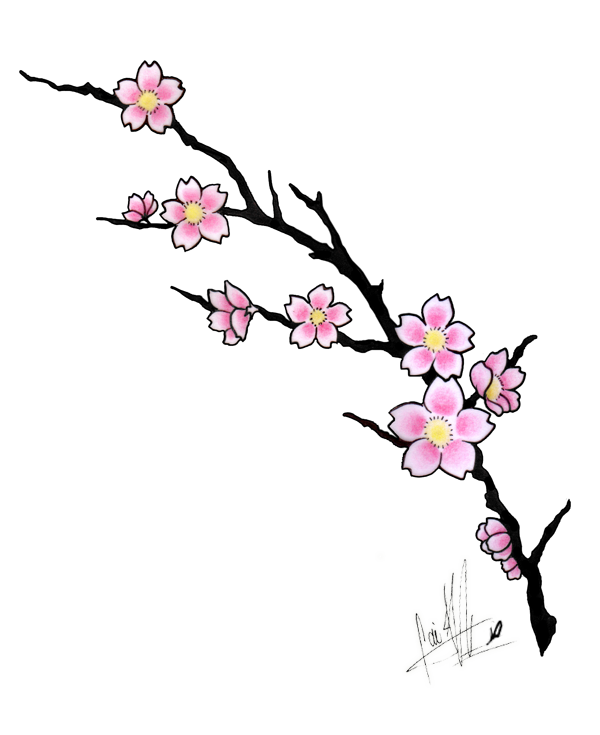 Cherry tree branch clipart clipart royalty free download cherry blossom tattoos | Cherry Blossom Tattoo Design by ... clipart royalty free download