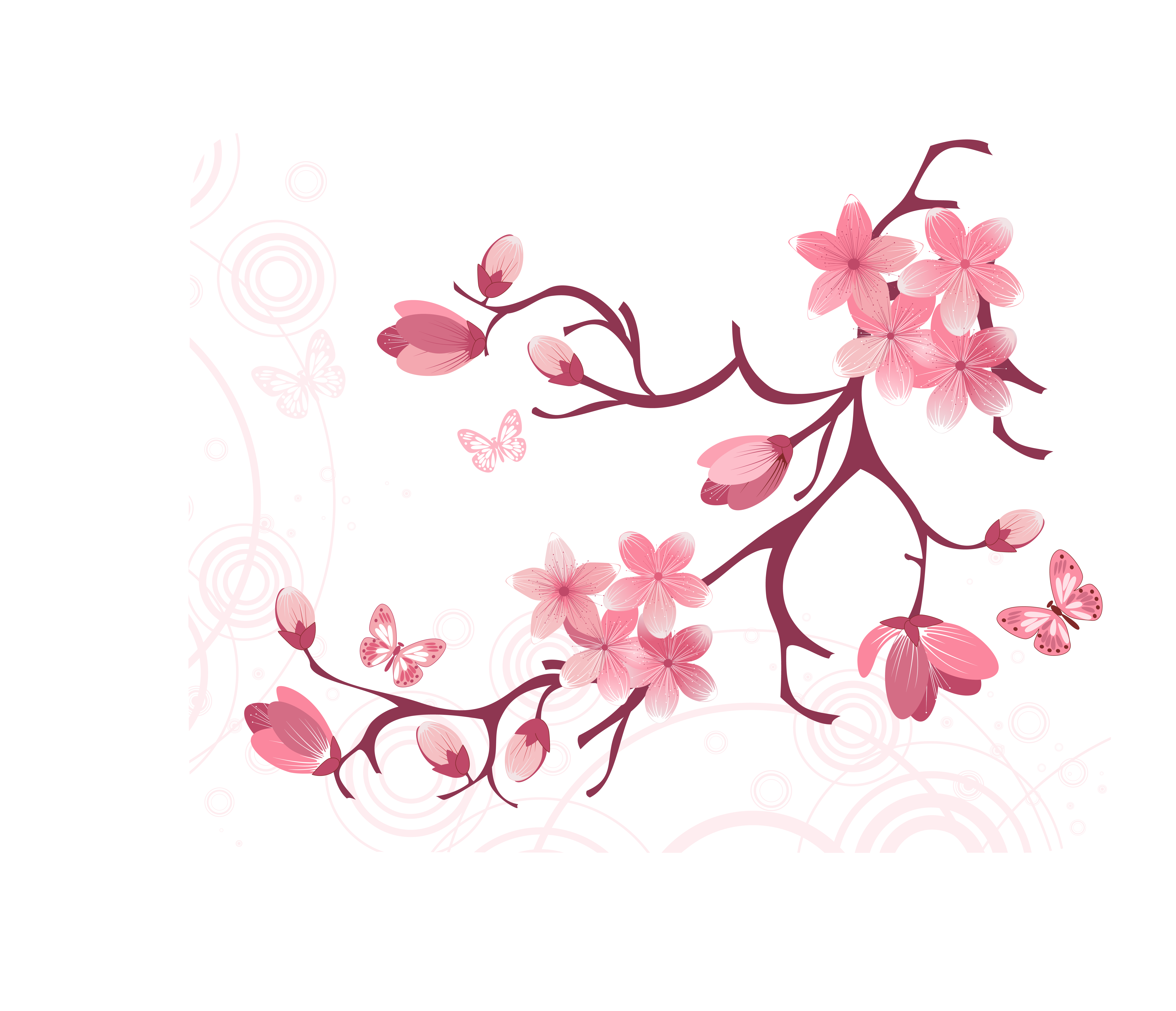 Cherry tree branch clipart clipart royalty free download Clip art - Vector tree branches flowers 6200*5328 transprent Png ... clipart royalty free download