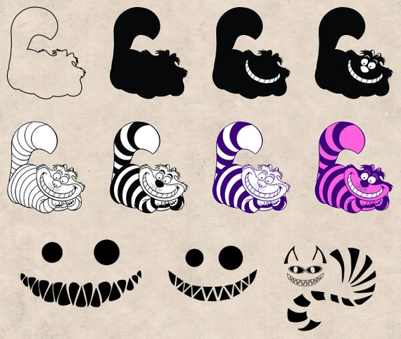 Cheshire cat skull clipart picture royalty free Cheshire Cat Clipart Pack, SVG, PNG, EPS Dxf, Vector format ... picture royalty free