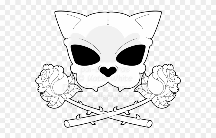 Cheshire cat skull clipart royalty free Collection Of Cute Drawing High Quality - Cat Skull And Crossbones ... royalty free