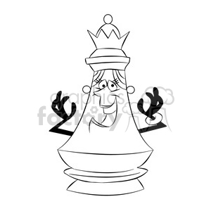 Chess clipart black and white picture free library cartoon chess piece character queen black white clipart. Royalty-free  clipart # 397872 picture free library