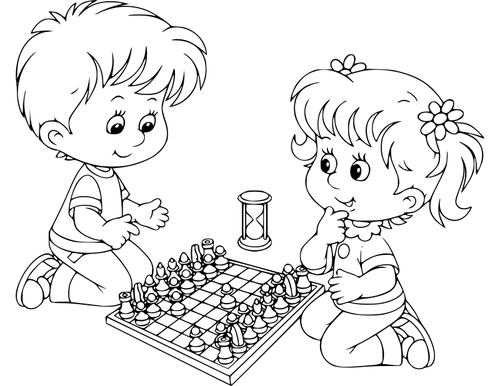 Chess clipart black and white clipart freeuse Boy and girl playing chess | Public domain vectors clipart freeuse