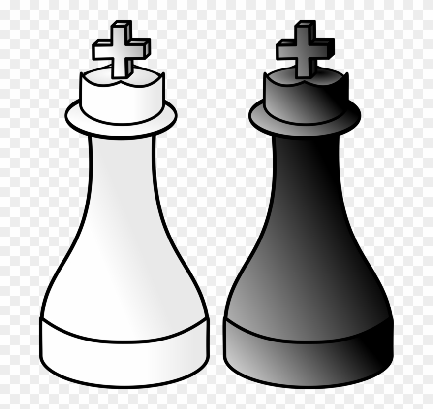 Chess clipart black white png Chess Piece Xiangqi King White And Black In Chess - Black And White ... png