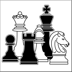 Chess set clipart clip art royalty free Clip Art: Chess Pieces B&W I abcteach.com | abcteach clip art royalty free