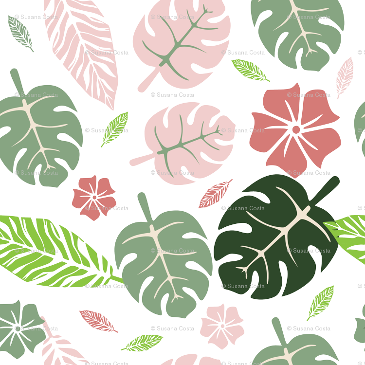 Chevron green orange and pink pumpkin clipart clipart black and white library Tropical floral white pink and green fabric - bruxamagica - Spoonflower clipart black and white library