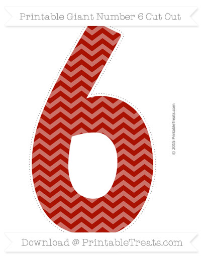 Chevron number 6 clipart clip art royalty free library Turkey Red Chevron Giant Number 6 Cut Out — Printable Treats.com clip art royalty free library