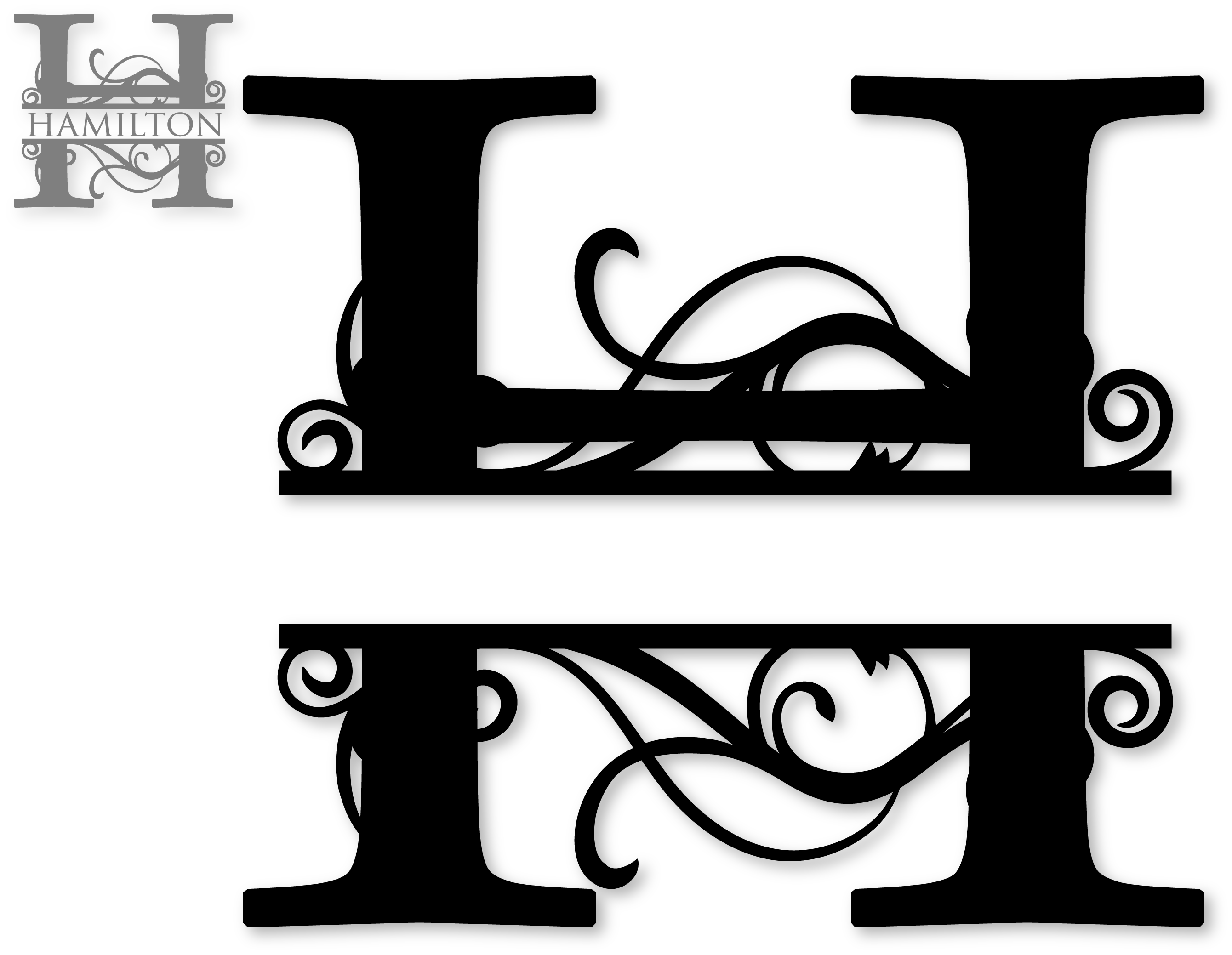 Chevron split pumpkin clipart clip download Flourished Split Monogram H | SnapDragon Snippets clip download