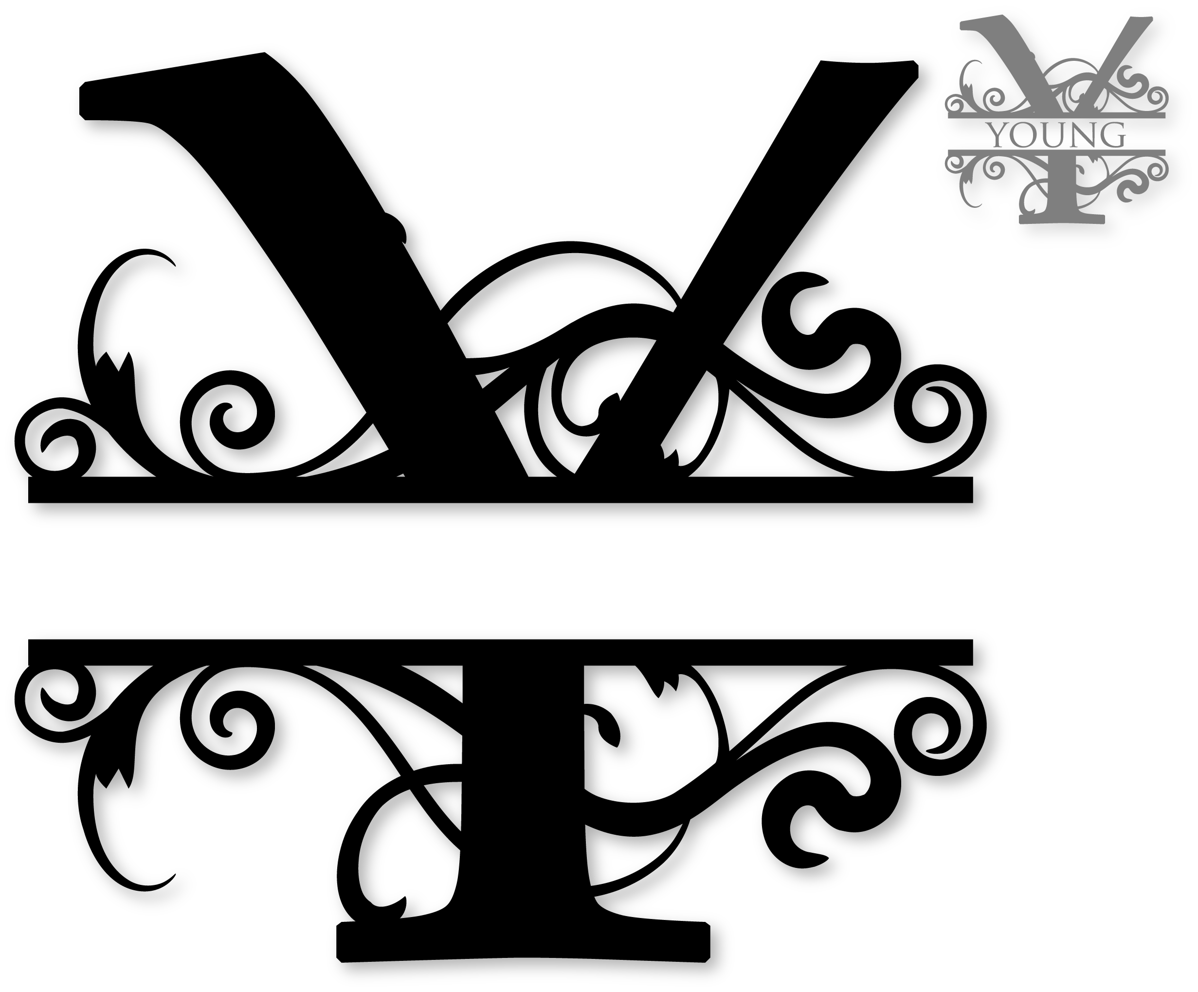 Cross monogram clipart. Y split alphabets pinterest