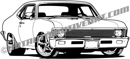 Car front vector clipart vector black and white library 1969 Muscle Car Front View - Vector Art vector black and white library