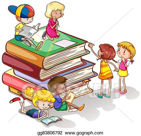 Clipart kids reading book clipart royalty free stock Vector Clipart - Kids reading books together. Vector Illustration ... clipart royalty free stock