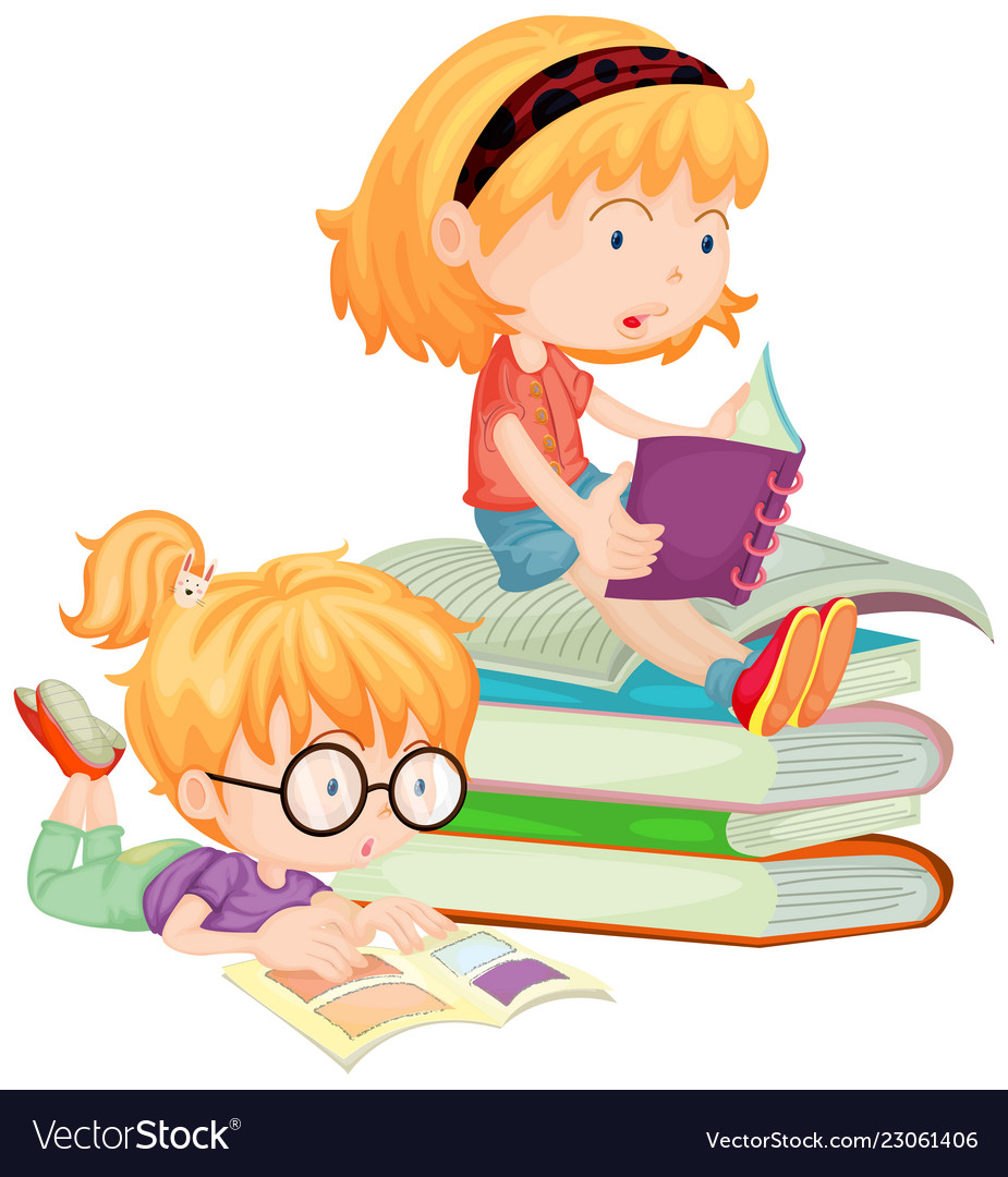 Kids and books clipart vector cartoon free banner black and white download Two children reading books in school banner black and white download