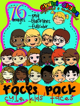 Chibi clipart pack jpg freeuse FACES CLIPART PACK {Cute Kids\' Faces} jpg freeuse