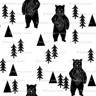 Chic bear outdoor clipart black and white png free library forest bear // black and white woodland mountain trees black and ... png free library