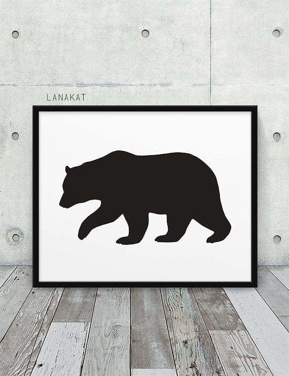 Chic bear outdoor clipart black and white picture freeuse download Bear Printable. Black & White Bear Silhouette Woodland Animal Print ... picture freeuse download