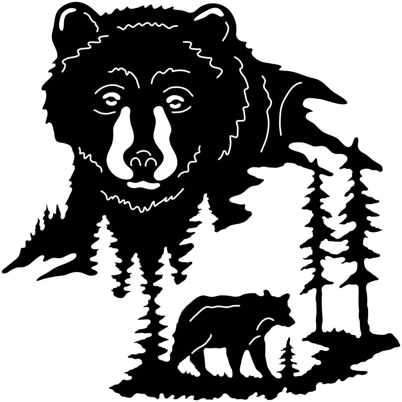 Chic bear outdoor clipart black and white vector freeuse stock Bear Face and trees | DXFforCNC.com - DXF files Cut Ready CNC ... vector freeuse stock