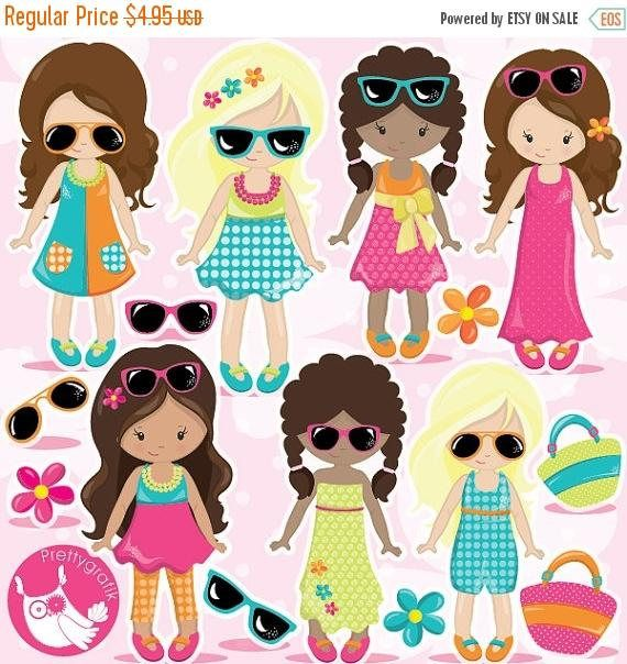 Chicas clipart graphic transparent download BUY20GET10 - Summer girls clipart commercial use, fashion girls ... graphic transparent download