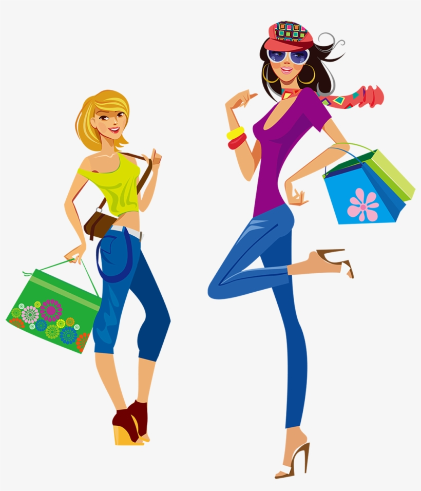 Chicas clipart svg freeuse library Dibujos Animados Para Las Chicas De La Moda - Girl Shopping Clipart ... svg freeuse library