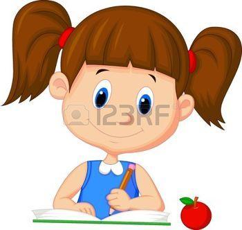 Chickalinda clipart banner free chicos y chicas: Linda chica escritura de la historieta en un libro ... banner free