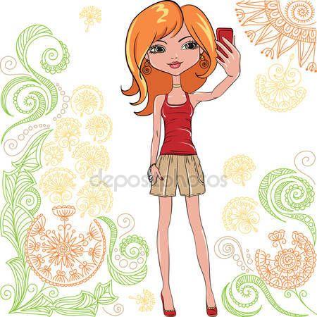 Chickalinda clipart picture free Linda chica vector hace selfie — Ilustración de stock #77171161 ... picture free