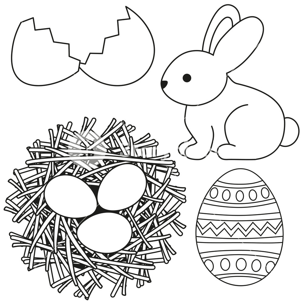 Chicken eggs in straw clipart black and white svg stock Line art black and white easter icon set egg shell bunny chicken ... svg stock