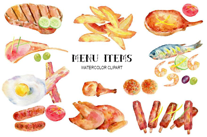 Chicken menu clipart clipart freeuse download Watercolor menu items, meat, egg and garnish for restaurant menus, instant  download clipart freeuse download